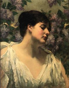 James Carroll Beckwith (American 1852–1917) [Impressionism, Landscape, Portrait] Under the Lilacs, 1879. Private Collection.