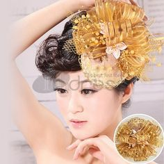 Wedding Headpieces / The first flowers of the bride gold wire network / http://www.thdress.com/The-first-flowers-of-the-bride-gold-wire-network-p2111.html