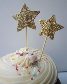 Gold Glitter Star Cupcake Toppers. 20 Pieces
