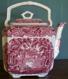 """RARE VINTAGE MASON'S VISTA PINK RED LARGE 9"""" SQUARE OVER THE TOP ENGLISH TEAPOT"""