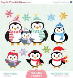 Winter Penguins Digital Clipart