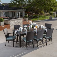Three Posts Evansville 9 Piece Sunbrella Dining Set with Sunbrella Cushions Color: Charcoal Grey Patio Bar Set, Patio Table, A Table, Wood Table, Outdoor Dining Set, Outdoor Living, Outdoor Furniture Sets, Outdoor Decor, Dining Area