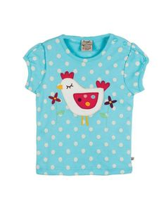 Frugi - Organic Cotton - Little Evie Applique Top - Ocean Medium Spot - Baby Gift Works