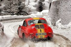 1963 PORSCHE 356 SC ..........fearless of ice & snow, against the elements and time. European rallies in winter.