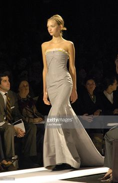 Gemma Ward wearing Carolina Herrera Fall 2005 during Olympus Fashion Week Fall 2005 - Carolina Herrera - Front Row and Runway at The Tent, Bryant Park in New York City, New York, United States.