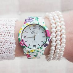 Flowers-Colors-Fashion-Party-Girl-Teen-Wrist-Watch-Woman-Floral-Gift-New-Watch