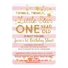 Shop Little Star Birthday Invitation Pink Gold created by hueinvitations. 2nd Birthday Invitations, Pink Invitations, Pink Gold Birthday, Personalized Note Cards, Twinkle Twinkle Little Star, Pink And Gold, First Birthdays, Baby Shower, Babyshower