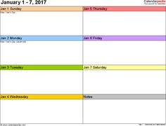Weekly Calendar  Template For Pdf Version  Landscape