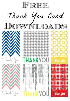 Free printable thank you cards in 6 different patterns -fun!