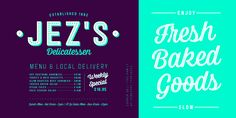 Corner Deli, font by Fenotype. Corner Deli can be purchased as a desktop and a web font. Brie Sandwich, Pastrami Sandwich, Commercial Signs, Ceasar Salad, Beef Salad, Font Face, Roasted Turkey, New Fonts, Deli
