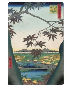 """""""The Maple Trees at Mama, the Tekona Shrine and Tsugihashi Bridge"""" from Utagawa Hiroshige's One Hundred Famous Views of Edo woodblock print series. The maple leaves were originally a brilliant orange color, but the ink has turned a brownish black over time."""