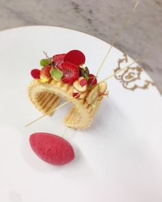 Working on our new a la Carte menu. Mille-Feuille Vanilla | Fraise des Bois sorbet | Fresh wild strawberries.