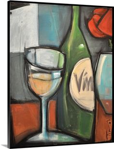 Abstract glass of wine, bottle of wine and a rose in vase.