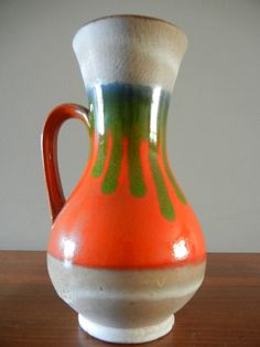 West German Pottery Fat Lava Vase Mid Century Modern Great Condition Orange and Green Vase Vintage Tablewear Vintage Pottery Retro Art on Etsy, $34.31 AUD