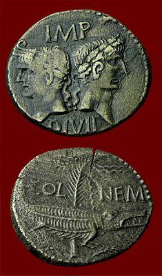 Moneda Romana - 10 A.C - Motivo: Augusto y Agrippa de espaldas, Atras, Cocodrilo encadenado