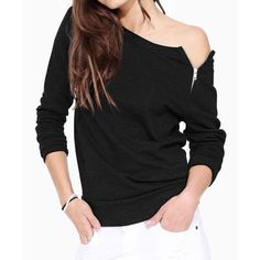 Casual Jewel Neck Long Sleeves Solid Color Zippered T-Shirt For Women