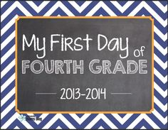 FREE FIRST DAY OF SCHOOL PRINTABLES~  Signs for pre-K through 6th.  Very cute!