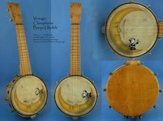 Soprano Banjo Ukulel- vintage, painted by Robert Armstrong