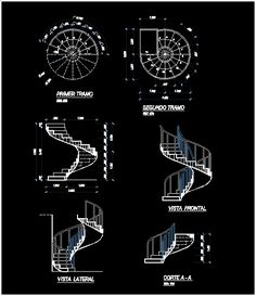 Concrete spiral staircase (dwgAutocad drawing)