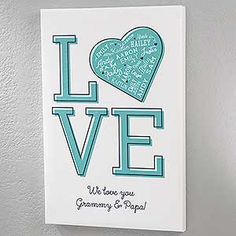 Buy personalized love canvas prints with our Close to Her Heart design. Add up to 21 names & 2 line message. Personalised Gifts Unique, Personalised Canvas, Personalised Blankets, Artist Canvas, Canvas Art, Personalized Garden Stones, Word Art Design, Love Canvas, Custom Canvas Prints