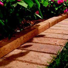 Brick garden border with mowing strip