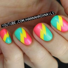 Amazing nail ideas for every level of artist. Cute Nail Art, Nail Art Diy, Easy Nail Art, Diy Nails, Swag Nails, Manicure, Lightning Nails, Lightning Bolt, Rasta Nails