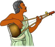 エクタラを演奏する男性。インドの弦楽器。ektara