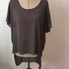 Cotton On Sheer Hi-low Top Cute grey top! Great condition.  No Trades  No Pay Pal  Yes to questions! Cotton On Tops Blouses
