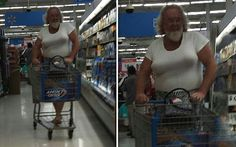 Moobs and Beard At Walmart - Man Boobs So Big He Needs A Bra - Funny Pictures at Walmart