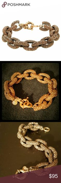 """J.Crew pave Crystal link bracelet in roasted acorn Rare color pave link bracelet with beautiful chocolate brown crystals. Signature logo disc charm at clasp w/ tiny rhinestone detail. 8"""" length 3/4"""" width. NWOT BUNDLE & SAVE  POSH RECOMMENDED SELLER J. Crew Jewelry Bracelets"""