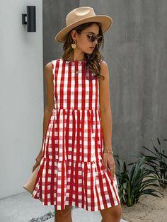 Dresses Online Australia, Mode Online, Casual Summer Dresses, Smock Dress, Dress Patterns, Gingham, Ideias Fashion, Outfits, Clothes