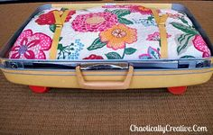 Vintage suitcase made into pet bed!