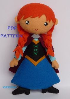 PDF sewing pattern to make a felt doll inspired in Anna.