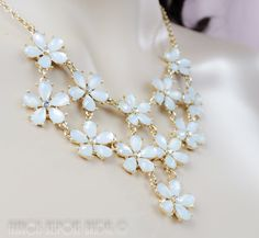 bridal necklace white daisy flowers, bib statement necklace, wedding jewelry gold crystal, ready to go