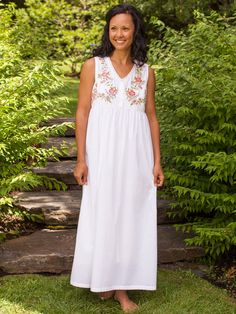 The classic April Cornell nighty you just can't find anywhere else, the Senorina is made in beautiful cool cotton voile that gets softer and softer with the passage of time. A simple but sophisticated style, this nighty has  floral embroidery on each side of the v-neck. Light gathers below the natural waist create the easy flow we all love.
