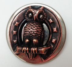 ANTIQUE XL METAL OWL BUTTON with CUT STEEL EYES