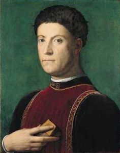 Piero di Cosimo de' Medici, eldest son of Cosimo the Elder, portrait by Bronzino. Born 1416, died 1469.  Ruled Florence for five years.  Known as Piero the Gouty, due to the severe Gout he suffered from.  Father to Lorenzo the Magnificent.