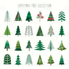 Christmas tree collection royalty-free christmas tree collection stock vector art & more images of abstract Christmas Tree Design, Christmas Tree Collection, Christmas Tree Clipart, Noel Christmas, Christmas Tree Decorations, Christmas Crafts, Christmas Ornament, Christmas Tree Drawing Easy, Christmas Tree Graphic