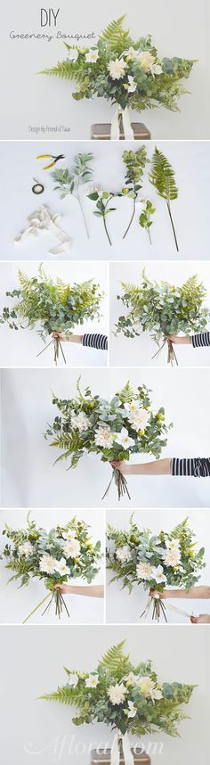 Make your own wedding bouquets ahead of time with this simple DIY by Friend Of Faux using faux greenery and flowers from afloral.com! #fauxflowers  Design by Friend of Faux