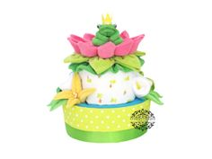 Washcloth Frog, Lily Pad & Lotus Flower Diaper Cake by Cheeky Chique Baby Diaper Cakery
