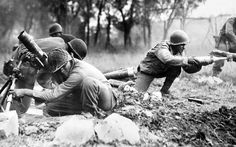 """""""Members of an African-American mortar company of the Division pass the ammunition and heave it over at the Germans in an almost endless stream near Massa, Italy. This company is credited with liquidating several machine gun nests. United States Army, American Soldiers, American Veterans, Pearl Harbor, African American History, Japan, Anne Frank, Henry Ford, Military History"""
