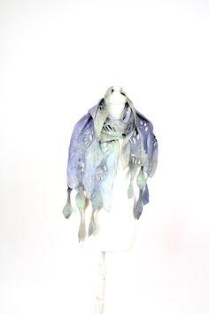 Beige felted felt silk scarf wool nunofelt wool por KateRamseyFelt, $92.00