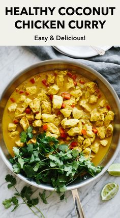 This coconut curry chicken is a healthy dinner that's packed with flavor. The chicken simmers in curry spice and coconut milk for an easy, one-pan meal. #coconutcurry #coconutcurryrecipe #coconutcurrychicken #thaifood #healthythaifood #glutenfree #glutenfreerecipes Healthy Thai Recipes, Vegetarian Recipes Dinner, Healthy Meal Prep, Clean Eating Recipes, Healthy Dinner Recipes, Healthy Eating, Healthy Lunches, Healthy Dinners, Curry Recipes