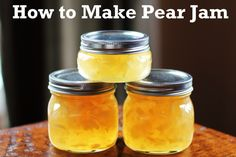 Recipe for Pear Jam. Last year, I made the most delicious pear sauce out of my pear harvest (like applesauce, but with pears). It was so easy, just simmer in a pot, ad a little cinnamon - no sugar necessary. This year maybe Ill try making jam. Canning 101, Canning Recipes, Canning Pears, Pressure Canning, Canning Labels, Pear Recipes, Fruit Recipes, Recipes With Pears, Blender Recipes