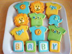 butter hearts sugar: Baby Shower Onesie Cookies (desserts to eat? Onesie Cookies, Baby Cookies, Baby Shower Cookies, Sugar Cookies, Lion Cookies, Pop Baby Showers, Baby Boy Shower, Sprinkles, Sugar Cookie Royal Icing