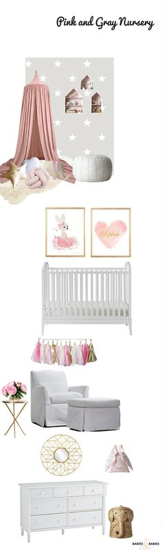 Pink and Grey nursery design with sprinklings of gold that gives this baby girl nursery a glamorous edge.