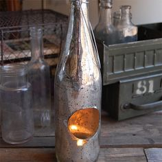 cool recycled beer bottle votive holders