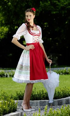 Krüger Manufaktur Dirndl 2012 - Petticoat Dirndl écru mit roter Schürze