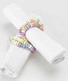 Candy necklaces for napkin decoration-- little girl birthday celebration napkins