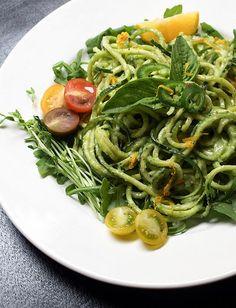Zucchini Pasta with Creamy Avocado-Cucumber Sauce